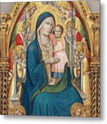 Madonna And Child Enthroned With Twelve Angels Metal Print
