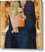 Madonna And Child Enthroned With Two Cherubim                                Metal Print