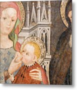 Madonna And Child Fresco, Italy Metal Print