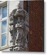 Madonna And Child Statue On The Corner Of A House In Bruges Metal Print