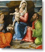 Madonna And Child With A Goldfinch With Saints Catherine And Paul Before An Extensive Landscape Metal Print