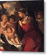Madonna And Child With Child And Angles Metal Print