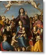 Madonna And Child With Saint Anne And The Patron Saints Of Florence Metal Print