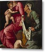 Madonna And Child With Saint Elizabeth And Saint John The Baptist Metal Print