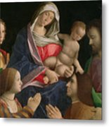 Madonna And Child With Saint John The Baptist Two Saints And Donors Metal Print