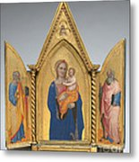 Madonna And Child With Saint Peter And Saint John The Evangelist [middle Panel] Metal Print
