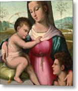 Madonna And Child With The Infant Saint John The Baptist Metal Print