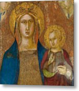 Madonna And Child With Two Angels Metal Print