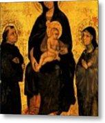 Madonna In Gloria Between Saint Francis And Santa Chiara Gentile Metal Print