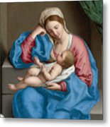 Madonna With The Infant Christ Child Holding A Goldfinch On A String  Metal Print