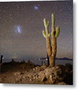 Magellanic Clouds And Forked Cactus Incahuasi Island Bolivia Metal Print