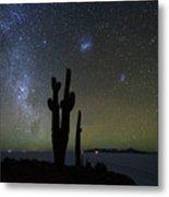 Magellanic Clouds Milky Way And Cactus Silhouette Incahuasi Island Bolivia Metal Print