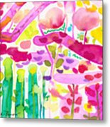 Magenta Garden In The Afternoon Metal Print