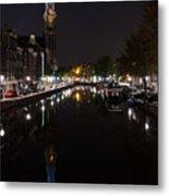 Magical Amsterdam Night - Blue Crown Skyline Metal Print