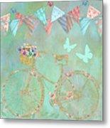 Magical Bicycle Tour Enchanted Happy Art Metal Print