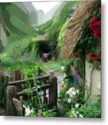 Magical English Mountain Cottage 2 Metal Print