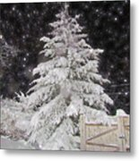 Magical Nighttime Snow Metal Print