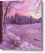 Magical Sunset After Snow Storm 1 Metal Print