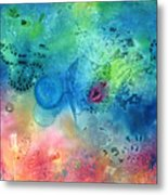 Magma Flow Seahorse And Bubbles Metal Print