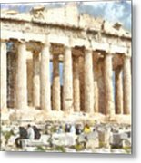 Magnificent Acropolis In Athens Metal Print
