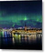 Magnificent Aurora Dancing Over Stockholm Metal Print