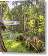 Magnolia Plantation Bridge Cypress Garden Metal Print