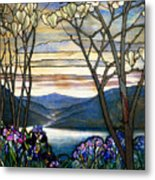 Magnolias And Irises Metal Print