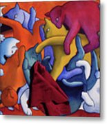 Magritte's Cats--this Is Not A Cat Fight Metal Print by Eve Riser Roberts