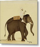 Mahout Riding An Elephant Painting - 18th Century Metal Print