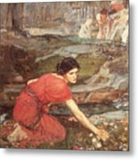Maidens Picking Flowers By The Stream Metal Print