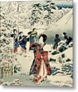Maids In A Snow Covered Garden Metal Print