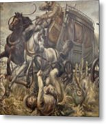 Mail Coach Attacked By Bandits Metal Print