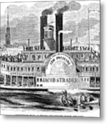 Mail Steamboat, 1854. /nthe Louisville Mail Company Steamboat Jacob Strader. Wood Engraving, 1854 Metal Print