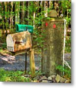 Mailbox On The Rural Country Road Metal Print