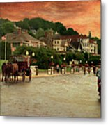 Main Street Mackinac Island Michigan Panorama Textured Metal Print
