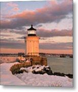Maine Bug Light Lighthouse Snow At Sunset Metal Print