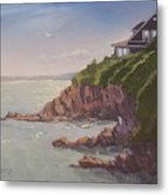 Maine Coast Abode - Art By Bill Tomsa Metal Print