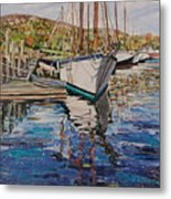 Maine Coast Boat Reflections Metal Print