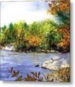 Maine Fall Pond Metal Print