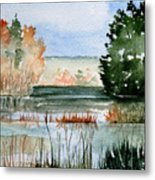 Maine Fall Reflections Metal Print