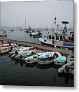 Maine Falmouth Boat Landing On Misty Morning Panorama Metal Print