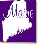Maine In White Metal Print