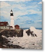 Maine Lighthouse Metal Print by Marcia Crispino