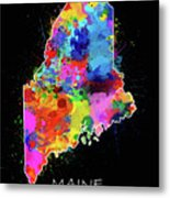 Maine Map Color Splatter 2 Metal Print