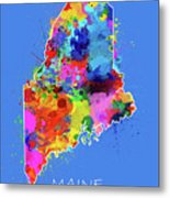 Maine Map Color Splatter 3 Metal Print