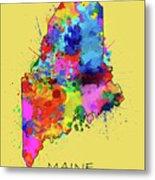 Maine Map Color Splatter 4 Metal Print