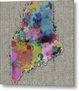 Maine Map Color Splatter 5 Metal Print