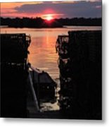 Maine Sunset And Traps Metal Print