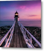 Maine Sunset At Marshall Point Lighthouse Metal Print