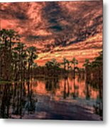 Majestic Cypress Paradise Sunset Metal Print
